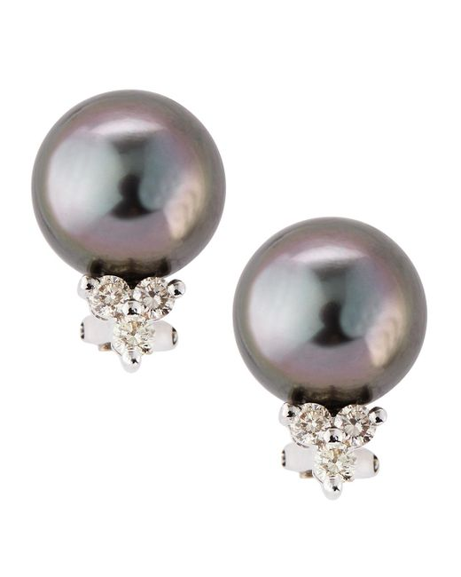 Belpearl - Multicolor Diamond Cluster Tahitian Pearl Earrings - Lyst