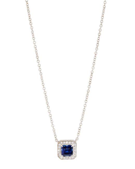 Fantasia by Deserio - Blue Square Halo Pendant Necklace - Lyst