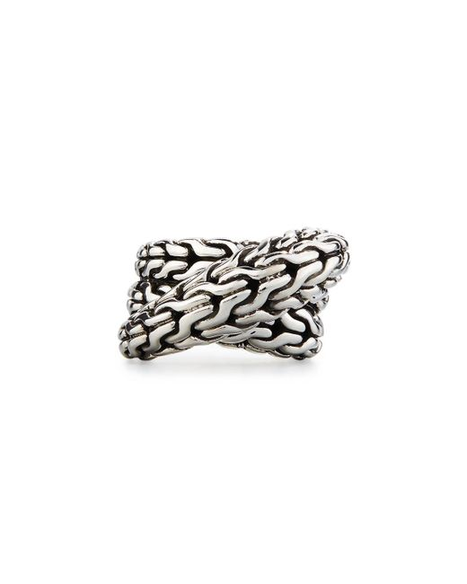 John Hardy - Metallic Classic Chain Silver Overlap Ring - Lyst