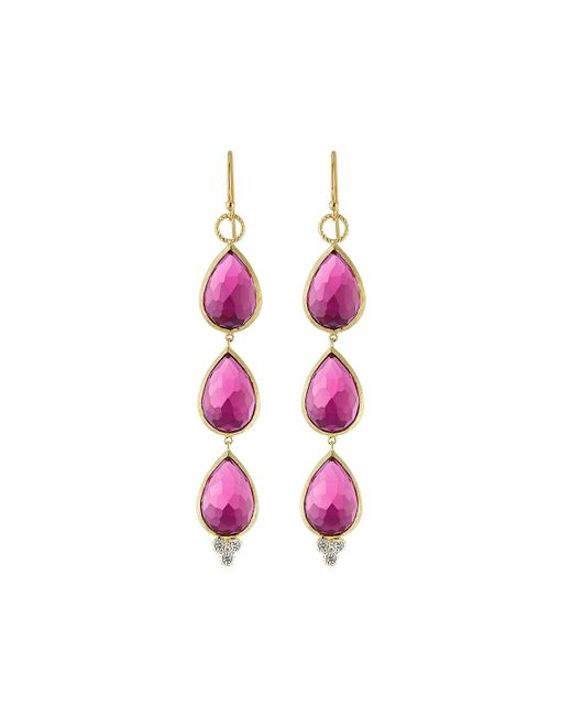 Jude Frances - Metallic 18k Gold Triple Ruby Quartz Teardrop Earrings - Lyst