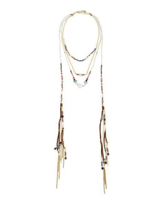 Nakamol | Purple Multi-row Beaded Suede Lariat Necklace | Lyst