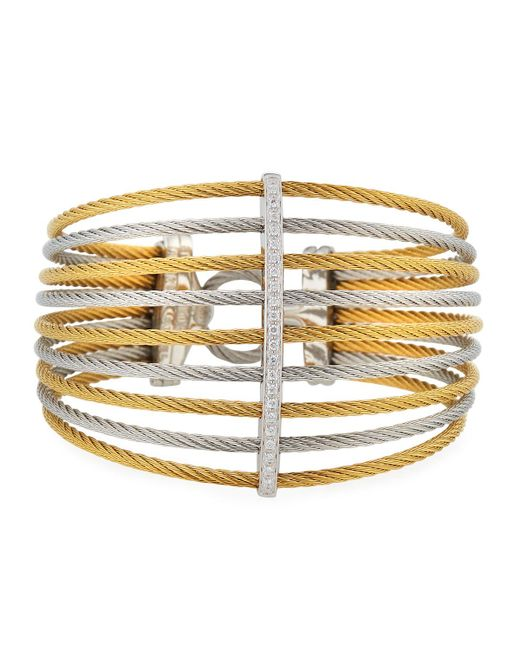 Alor - Metallic Multi-row Split Wide Bangle W/ Diamonds - Lyst