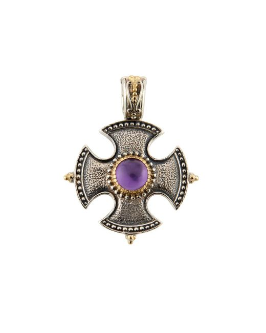 Konstantino   Purple Erato Amethyst Doublet Cross Shield Pendant   Lyst