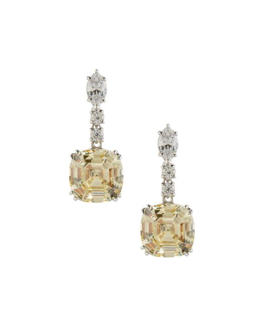 Fantasia by Deserio - Metallic Asscher-cut Canary Crystal Drop Earrings - Lyst