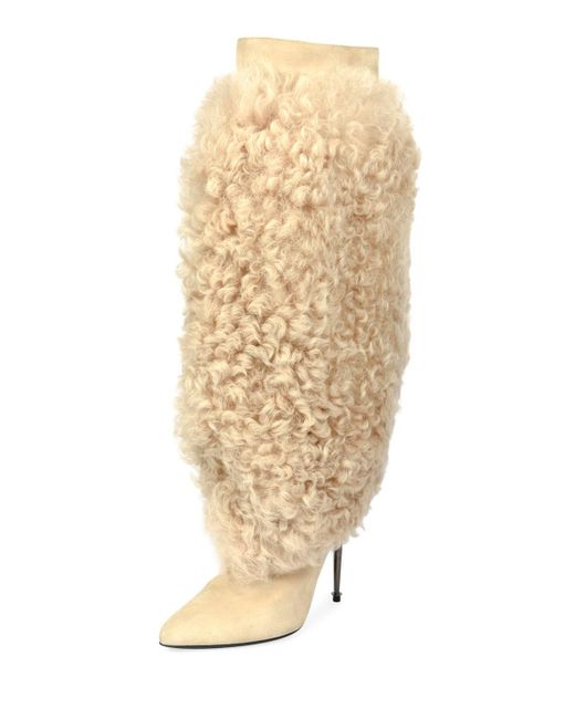 Tom Ford - Natural Curly Shearling Fur Knee Boot - Lyst