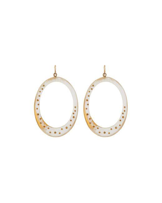Ashley Pittman | White Mzima Studded Oval Drop Earrings | Lyst