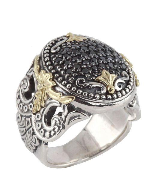 Konstantino | Metallic Asteri Ornate Round Pave Black Diamond Ring | Lyst