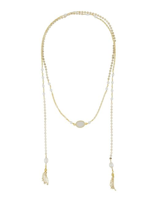 Nakamol | Metallic Disc Chain Lariat Necklace W/ Pearls | Lyst