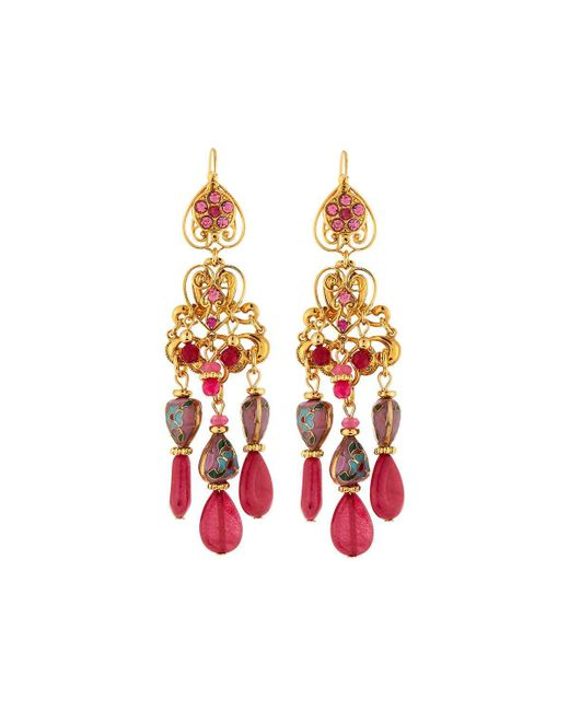 Jose & Maria Barrera - Hearts & Filigree Drop Earrings Pink - Lyst