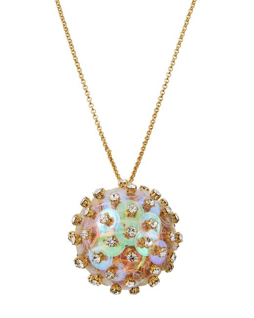Lele Sadoughi - Metallic Crystal & Sequin Poppy Pendant Necklace - Lyst