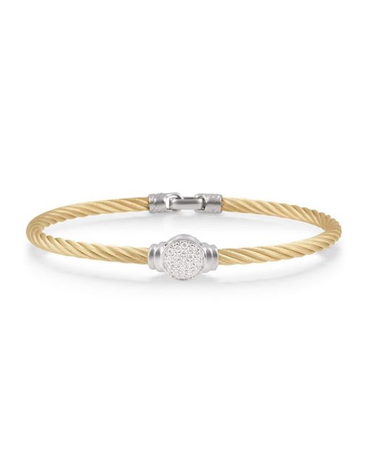 Alor - Metallic Round Pave Diamond Cable Bracelet - Lyst