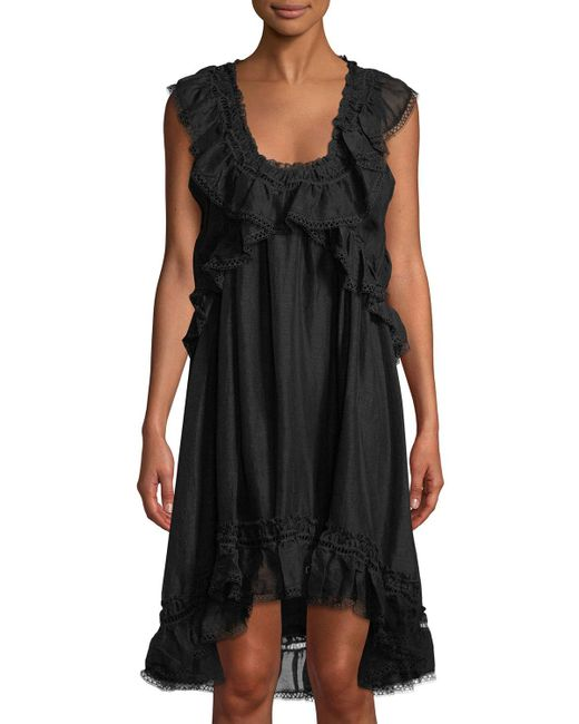 Leon Max - Black Scoop-neck Sleeveless Linen-silk Dress W/ Ruffle Detail - Lyst