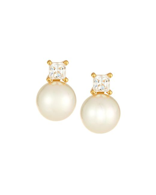 Majorica - White Cubic Zirconia Manmade Pearl Earrings - Lyst