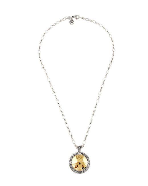 John Hardy   Metallic Hammered Round Pendant Necklace   Lyst