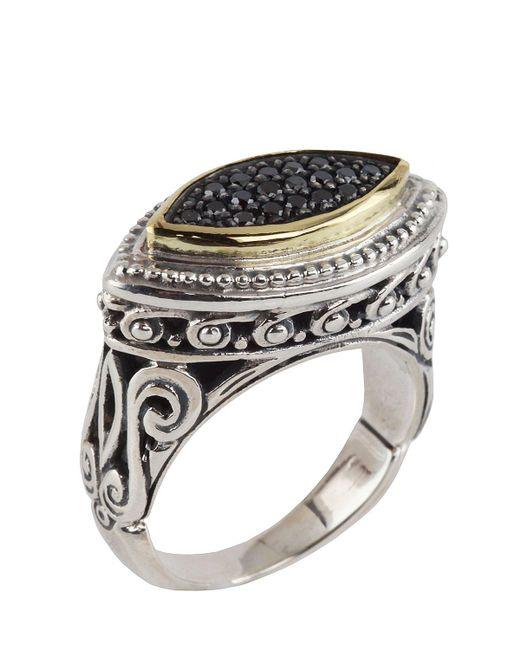 Konstantino | Metallic Asteri Horizontal Ring W/ Pave Black Diamond Marquise Center | Lyst