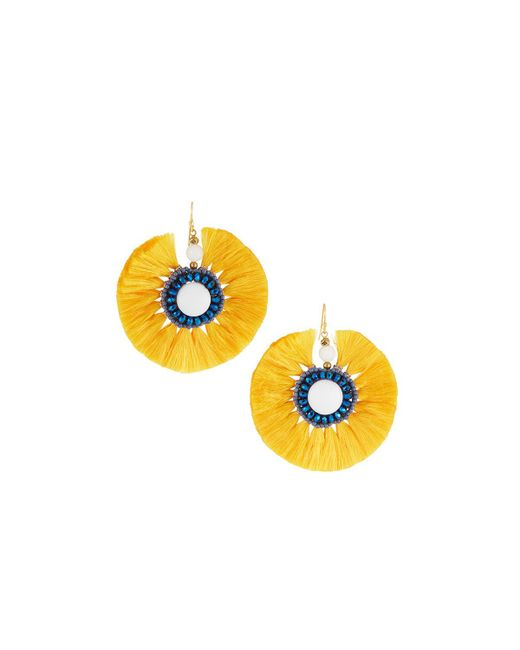 Nakamol - Yellow Circle Fringe Drop Earrings - Lyst