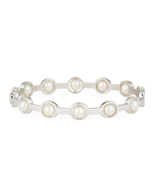 Majorica | White 5mm Simulated Pearl Station Bangle Bracelet | Lyst