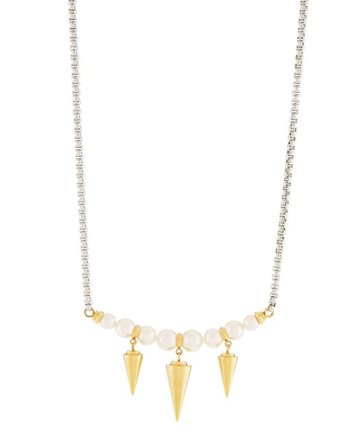 Majorica - White Pearly Spike Pendant Necklace - Lyst