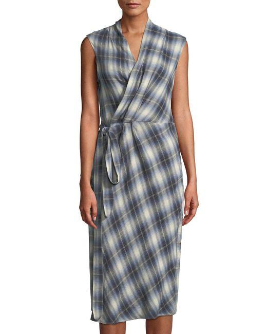 Vince - Multicolor Shadow-plaid Sleeveless Wrap Dress - Lyst