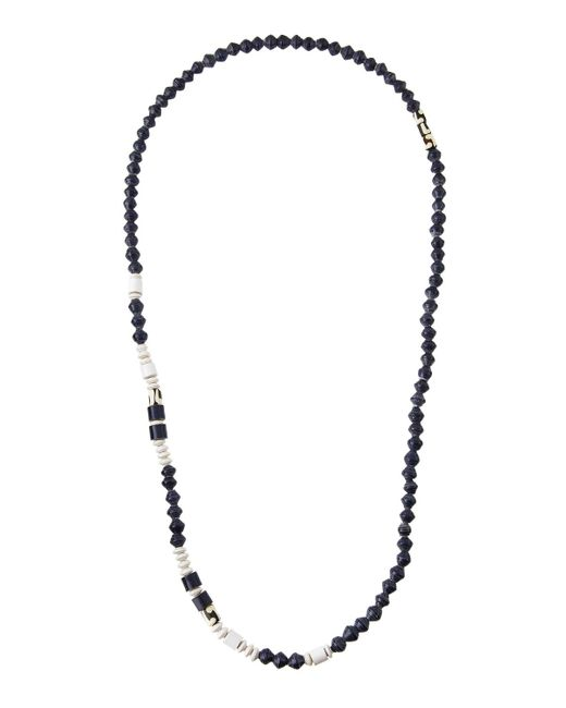 Akola - Blue Cuban Long Paper & Bone Beaded Necklace - Lyst