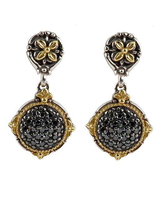 Konstantino - Asteri Pave Black Diamond Round Double-drop Earrings - Lyst