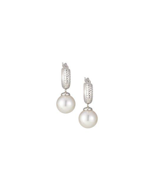 Majorica - White Silver Huggie Hoop Pearl Drop Earrings - Lyst