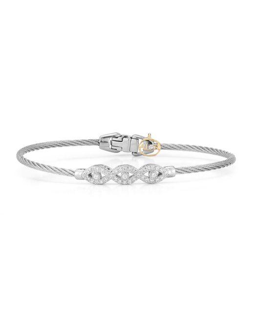 Alor | Gray 18k Triple Diamond Cable Bangle | Lyst