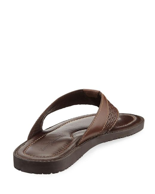2b5eca8f2a74eb Tommy Bahama Brown Anchors Astern Leather Flat Thong Sandal for Men Lyst  new. brown leopard print flip flops ...