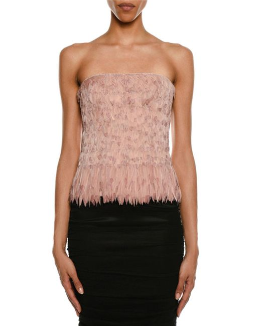 Tom Ford Pink Degrade Feather Bustier Top