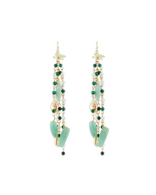 Lydell NYC - Green Beaded Linear Tassel Earrings - Lyst