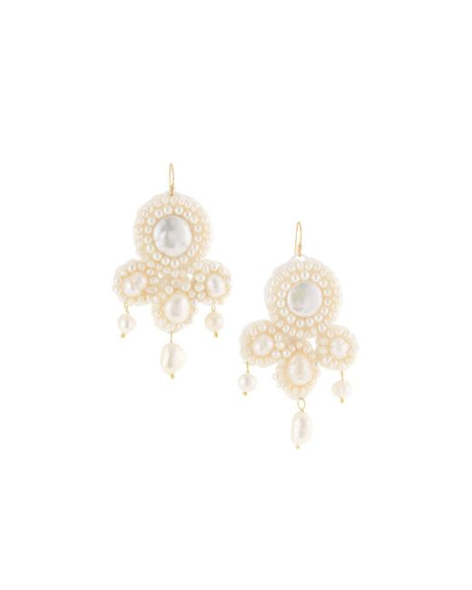 Panacea - White Pearl Beaded Statement Earrings - Lyst
