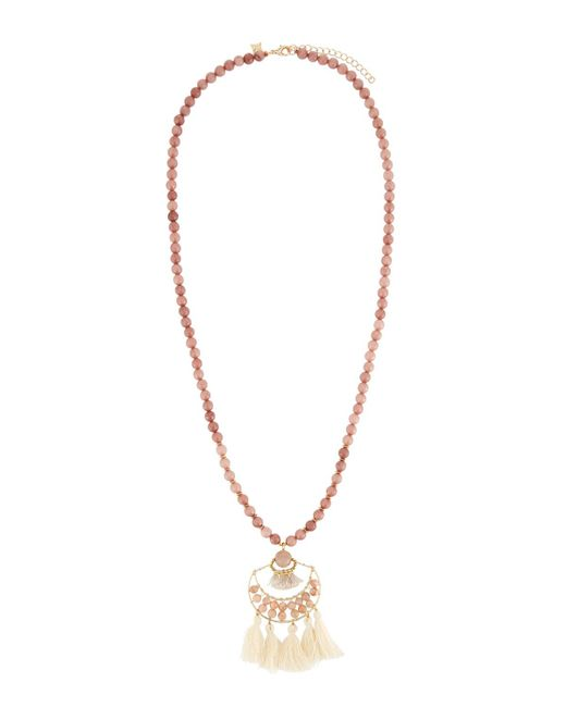 Panacea - Multicolor Peach Stone Beaded Necklace W/ Ivory Tassel - Lyst