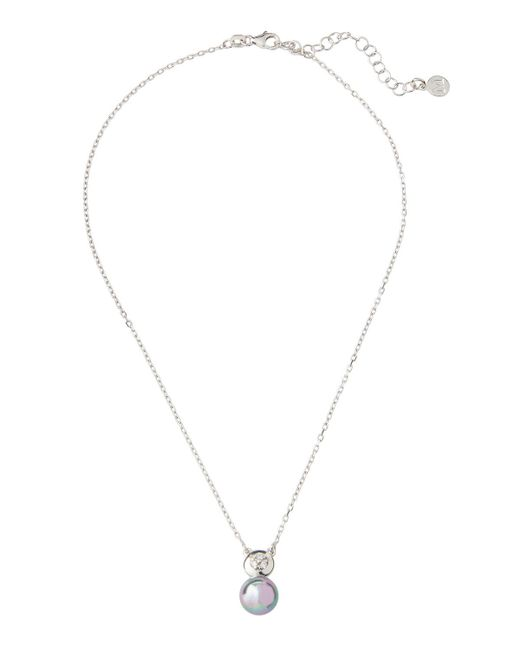 Majorica - Gray Pearl & Crystal Pendant Necklace - Lyst