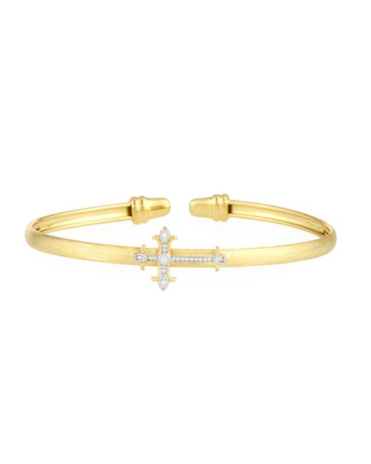 Jude Frances - Metallic Pave Diamond Fleur Cross Stretchy Bangle Bracelet - Lyst