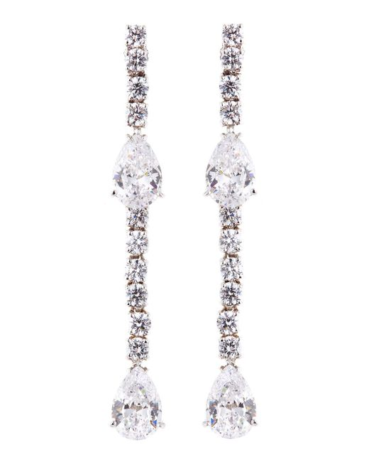 Fantasia by Deserio - Multicolor Cz Round And Pear-cut Linear Earrings - Lyst