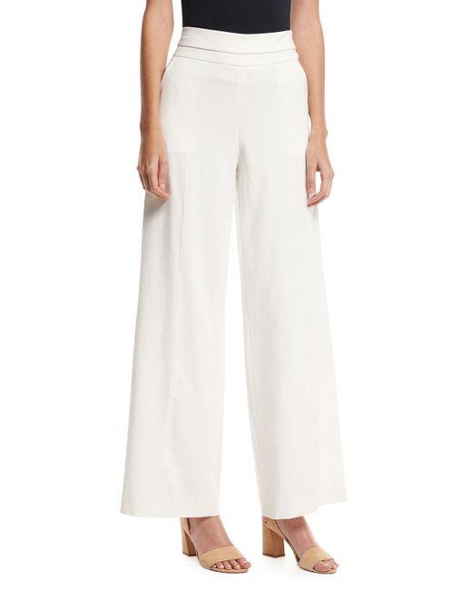FRAME - White Wide-leg Tux Pants - Lyst