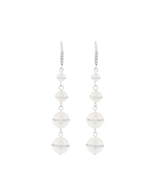 Lydell NYC - Metallic Linear Pearly Drop Earrings - Lyst