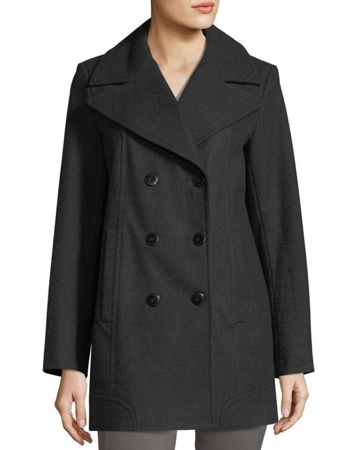 Marc New York   Gray Winnie Double-breasted Wool-blend Coat   Lyst