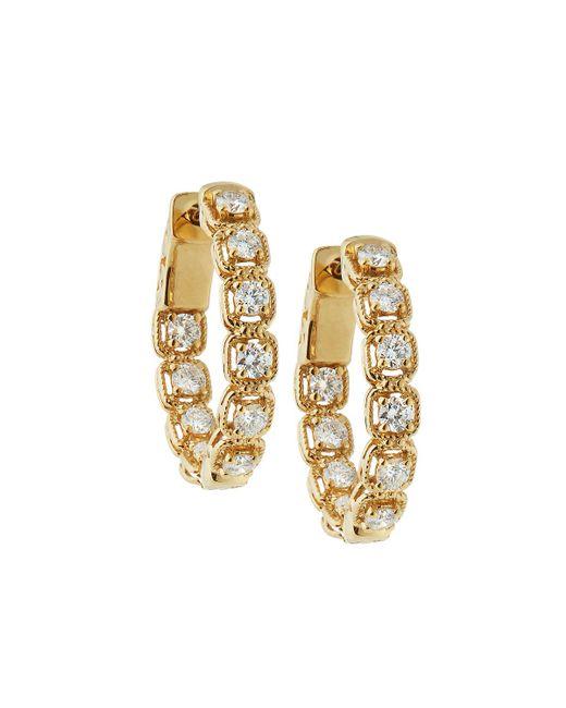 Neiman Marcus - 14k Yellow Gold Diamond Illusion Hoop Earrings - Lyst
