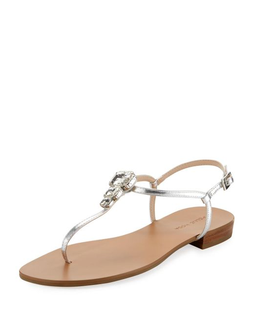 Pelle Moda | Baxley Embellished Metallic Sandal | Lyst