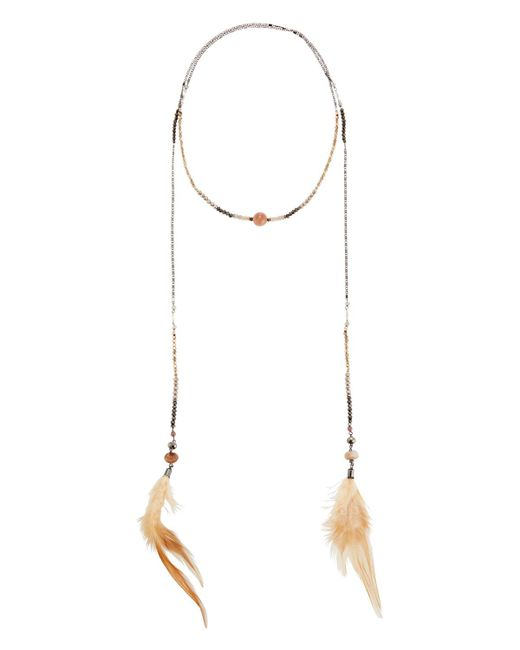 Nakamol - Orange Crystal Lariat Feather Necklace - Lyst