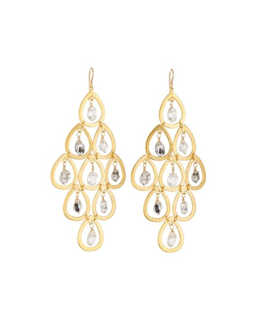 Devon Leigh - Metallic Quartz & Moonstone Chandelier Earrings - Lyst