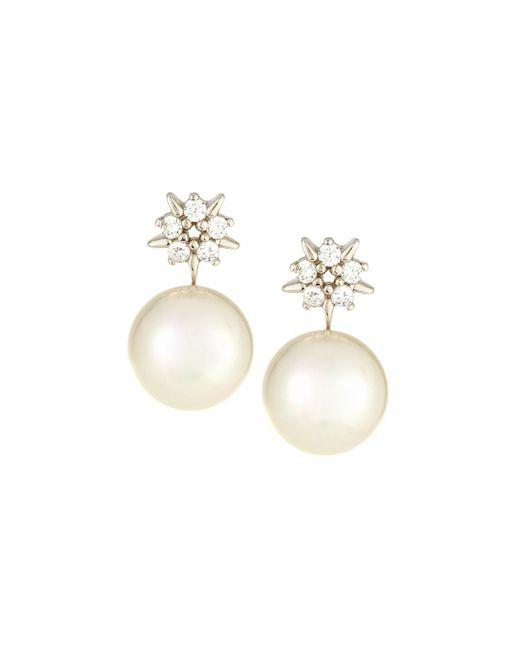 Majorica - White Pearl & Cubic Zirconia Starburst Earrings - Lyst