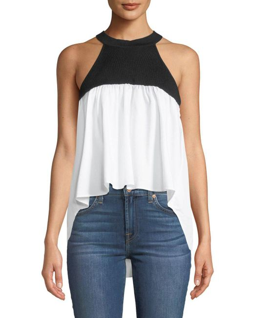English Factory - Black Colorblocked Draped Halter Blouse - Lyst