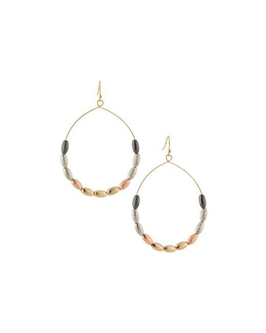 Lydell NYC - Metallic Beaded Hoop Drop Earrings - Lyst