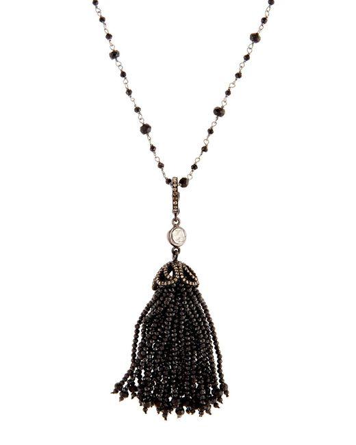 Bavna | Long Black Spinel & Diamond Tassel Necklace | Lyst