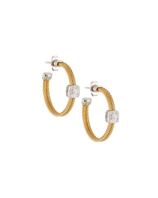 Alor - Metallic Classique Steel & 18k Diamond Cable Hoop Earrings - Lyst