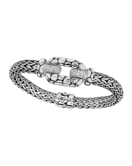 John Hardy | Metallic Silver White Topaz Lava Station Bracelet | Lyst