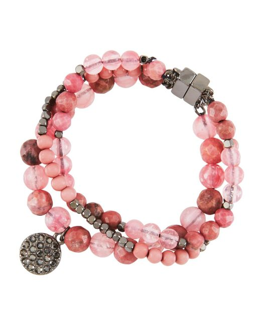 Lydell NYC | Red Semiprecious Hematite Multi-row Bracelet | Lyst