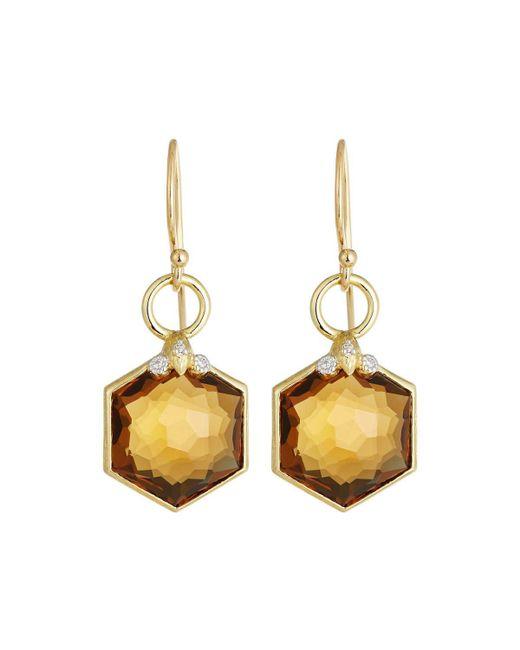 Jude Frances | Metallic Hexagon Citrine Drop Earrings | Lyst